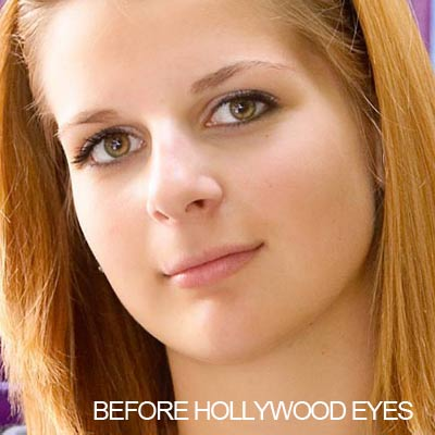 Before applying Hollywood Eyes ring light