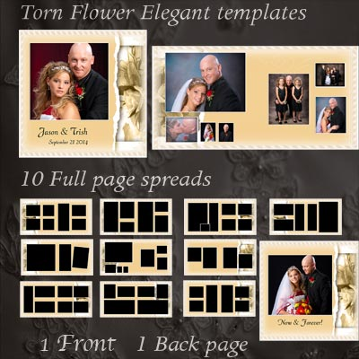 Wedding templates for photoshop and elementsphoto album book photoshop wedding album templates torn flower wedding album pronofoot35fo Gallery